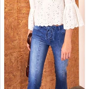 Ulla Johnson Alex Lace Up Jeans